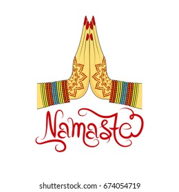 Indian womans hand greeting posture of namaste, vector illustration