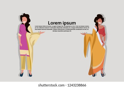 Indian women with bindi standing together.  Communication concept. Woman in national traditional clothes.  Female cartoon character,  full length flat horizontal copy space
