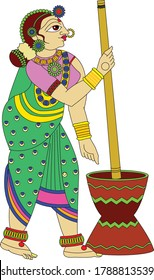 Indian working woman, Drawn in folk art Kalamkari style. It can be used for a coloring book, textile/ fabric prints, phone case, greeting card. logo, calendar