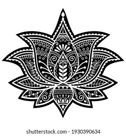 Indian Yoga lotus flower vector design, Mehndi henna tattoo art or pattern, zen detailed bohemian greeting card. Beautiful lotus decor inspired by traditional tattoo art from India - boho style
