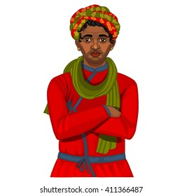 Indian young man in turban colorful illustration