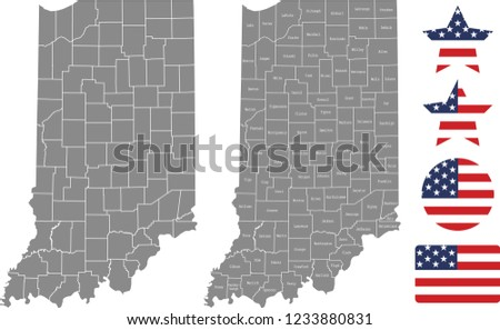 United States Map With County Names.Indiana County Map Vector Outline Gray Stock Vector Royalty Free