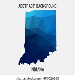 Indiana map in geometric polygonal,mosaic style.Abstract tessellation,modern design background,low poly. Vector illustration.