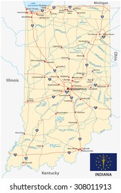 indiana road map with flag