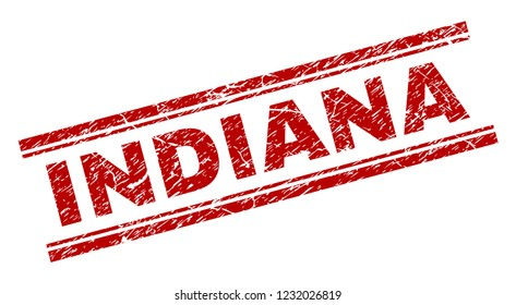 INDIANA seal watermark with grunge style. Red vector rubber print of INDIANA caption with grunge texture. Text caption is placed between double parallel lines.