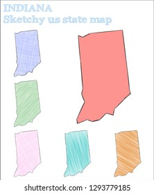 Indiana sketchy us state. Favorable hand drawn us state. Magnetic childish style Indiana vector illustration.