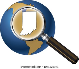 Indiana State Map Enlarged with Magnifying Glass on Globe