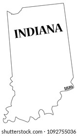 An Indiana state outline with the date of statehood isolated on a white background