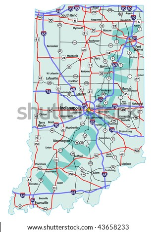 Indiana On Map Of Us.Indiana State Road Map Interstates Us Stock Vector Royalty Free