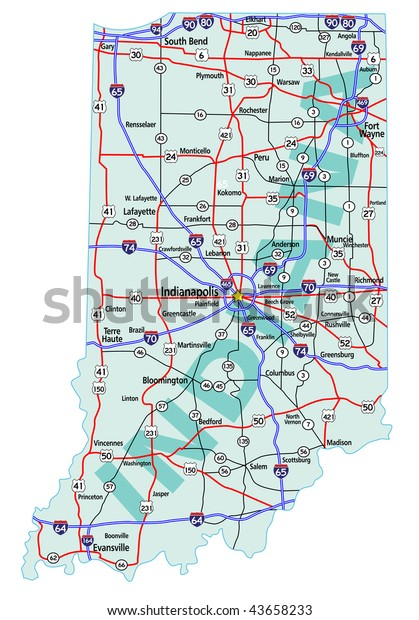 Indiana State Road Map Interstates Us Stock Vector Royalty Free - Indiana-map-us