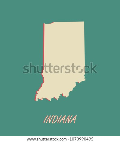 Indiana State Us Map Vector Outlines Stock Vector Royalty Free - Indiana-in-us-map