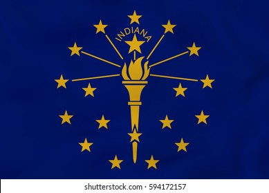 Indiana waving flag. Indiana state flag background texture.Vector illustration.