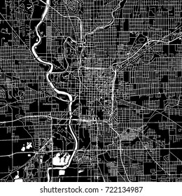 Indianapolis, Indiana. Downtown vector map. City name on a separate layer. Art print template. Black and white.