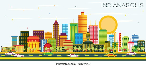 Indianapolis Skyline with Color Buildings and Blue Sky. Vector Illustration. Business Travel and Tourism Concept with Modern Buildings. Image for Presentation Banner Placard and Web Site.