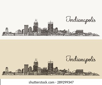 Indianapolis skyline, engraved style, vector illustration, hand drawn