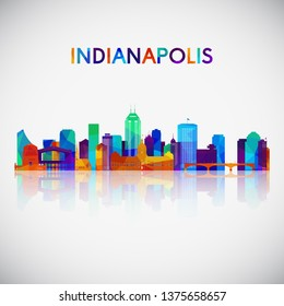 Indianapolis skyline silhouette in colorful geometric style. Symbol for your design. Vector illustration.