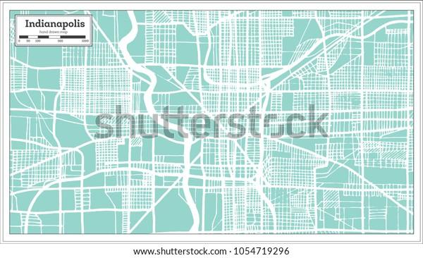 Indianapolis Usa City Map Retro Style Stock Vector (Royalty ...