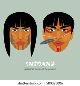 Indians - the indigenous people of South America. Man and woman. Vector illustration.