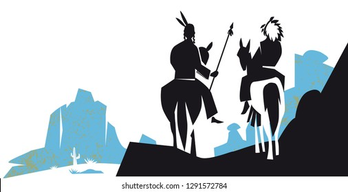 Indians are riding horse in western america landscape, vector illustration