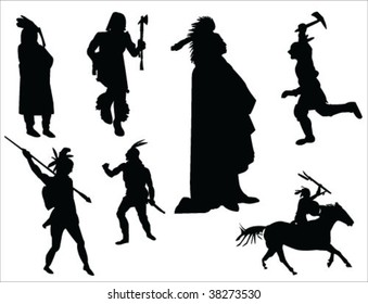 indians silhouette vector collection