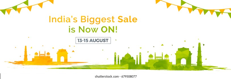 India's Biggest Sale website banner design with illustration of famous monuments for Independence Day.