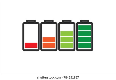 Indicator of battery level charger from empty to full charged in color