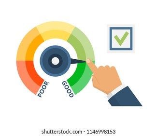 Indicators credit score, approval solvency, creditworthiness, with color level from bad to good. Man hand with pointer next to checkbox. Scale of financial welfare with divisions. Vector illustration.