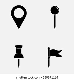 indices icons on the map, indicate places, fully editable vector image