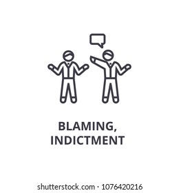 indictment, blaming thin line icon, sign, symbol, illustation, linear concept, vector
