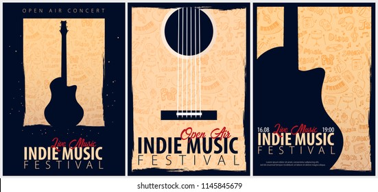Indie Music Festival. Open Air. Set of Flyers design Template with hand-draw doodle on the background
