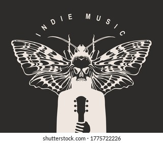 Indie music festival poster with a mysterious winged creature with a moth instead of a head, who holds a guitar. Creative vector illustration, suitable for banner, flyer, invitation, playbill, cover