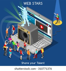 Indie Music Webstar Pop Rock Band Song Interacting People Unique Isometric 3D Flat Vector Icon Set Laptop Web Superstar Creative Talent Show Concept Illustration JPEG JPG EPS 10 Image AI Picture Art