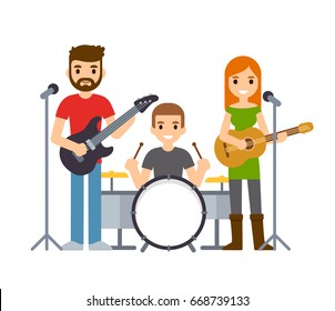 Indie rock band, male and female singers with guitars and drummer. Cute cartoon vector musicians illustration.