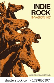Indie Rock Horse Invasion Gig Poster Flyer Template