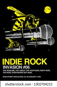 Indie Rock Invasion Gig Poster Flyer Template