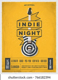 Indie Rock Music Night Party, Festival Flyer, Poster, Banner Template For Your Event. Trendy Vintage Styled Vector Illustration.