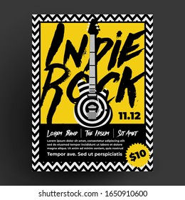 Indie rock party or concert flyer poster design template for your night club or pub live music event. Vector illustration.