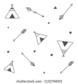 Indie style tribal seamless pattern with native laavu/wickiup/kohte/tipi tents and arrows