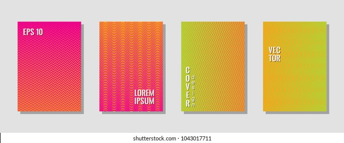 Indie style zig zag banner templates, wavy lines gradient stripes backgrounds for music cover. Curve shapes stripes, zig zag edge lines halftone texture gradient book covers red green set.