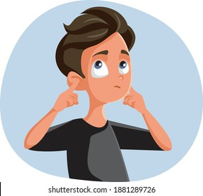 Indifferent Teen Boy Covering His Ears. Rebel Teenager blocking communication ignoring and misbehaving