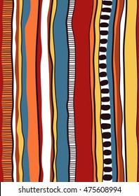 Indigenous/Aboriginal inspired stripe design. Vector seamless pattern.