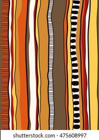 Indigenous/Aboriginal inspired stripe design. Vector seamless pattern.
