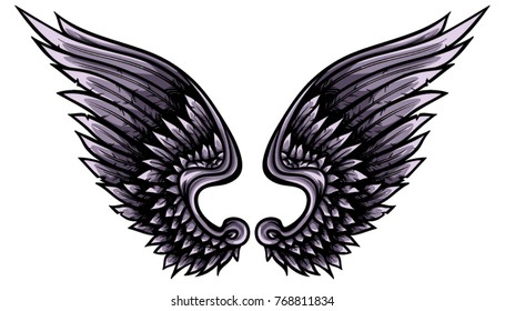 Indigo angelic vector wings with black outline, shadows and lights. Creative heraldic illustration.