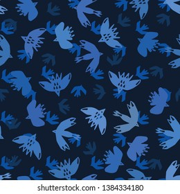 Indigo blue abstract birds flying cut out shapes. Vector pattern seamless background. Hand drawn matisse style collage graphic illustration. Trendy home decor, avian sky fashion prints, wallpaper.