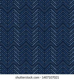 Indigo blue abstract organic tribal chevron. Vector pattern seamless background. Hand drawn textured style. Ethnic zig zag stripes illustration. Home decor, men shirting fashion print, navy wallpaper.