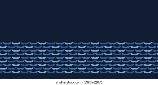 Indigo blue abstract organic waves cut out shapes. Vector border pattern seamless background. Hand drawn sea water matisse style. Collage denim graphic. Trendy home decor, fashion edging, ribbon trim