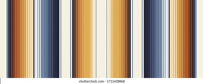 Indigo Blue, Amber Brown and Navajo White Southwestern Serape Blanket Stripes Seamless Vector Pattern. Neutral Warm Palette. Rug Texture with Threads. Native American Textile. Ethnic Boho Background.