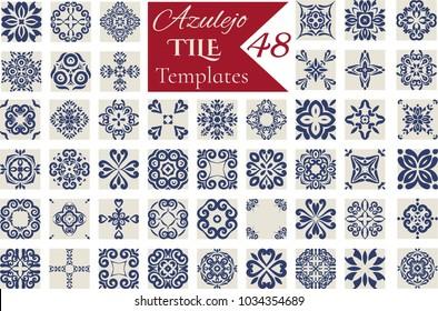 Indigo Blue Azulejos Pattern Lisbon. Set  of Tile Floor Oriental Spain Collection / Portugal Geometric Ceramic Design Tile. Vintage Illustration  template.