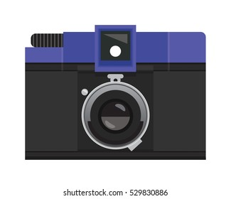 Indigo Blue and Black Analog Film Camera