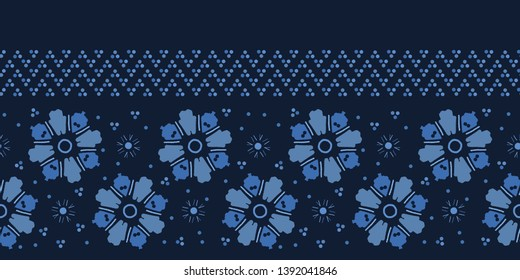 Indigo blue daisy floral shapes. Vector pattern seamless background. Hand drawn geometric stylized flower illustration. Trendy home decor, asian fashion print, japanese stylized navy denim wallpaper